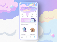 Line Friends Online Store transition search starry night after effects ae interface sky rainbow cloud line friends cute fun pink purple dark bright fluid gradient colors children child kid toy online store shop ecommerce 3d motion interaction product design illustration animation ios app ui ux design mobile
