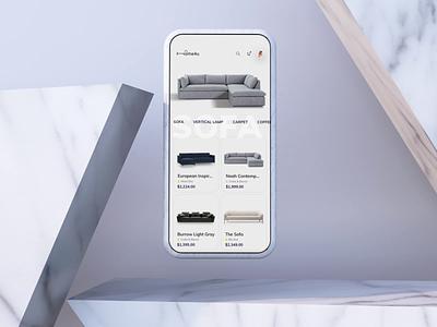 Furniture App interaction 3d c4d app online shop animation mobile