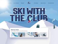 Ski Club Website scroll illustraion 3d landing page ui animation website web