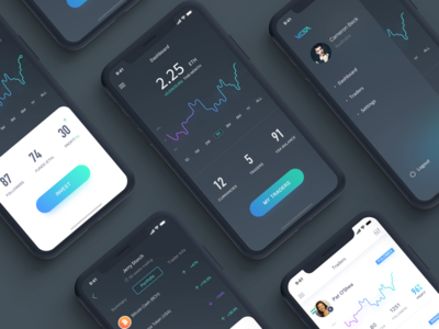 Crypto Currency Trading App cryptocurrency interface dapp decentralized wallet bitcoin tech technology cryptocurrency advisor line chart graph dark card style gradient color trading dashboard menu crypto currency exchange blockchain dapp decentralized ios iphone x iphonex mobile app ui ux design