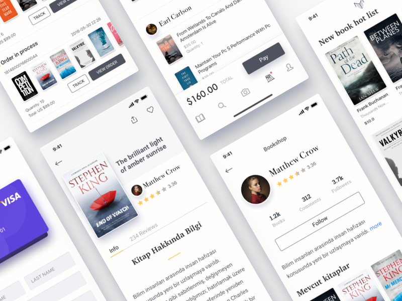 Online Book Store - Manetho App Redesign Project interface book bookseller sell buy books share social network media ecommerce e-commerce online store shopping shop shopping cart credit card form profile order screen catalog payment clean style white color ios iphone x iphonex mobile app ui ux design