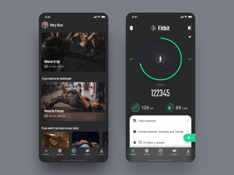 Redesign of Fitbit Fitness App interface statistics lesson list dashboard courses category card style black progress bar video mobile app ui ux design ios iphone x iphonex dark clean green white color fitness workout fitbit gym health coach sport