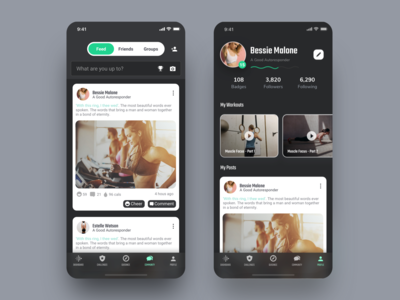 Profile and Community of Fitness App