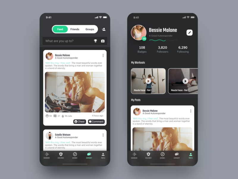 Profile and Community of Fitness App interface feed post video social network media card style search bar dark clean black white community progress bar profile mobile app ui ux design ios iphone x iphonex fitness workout fitbit gym health coach sport