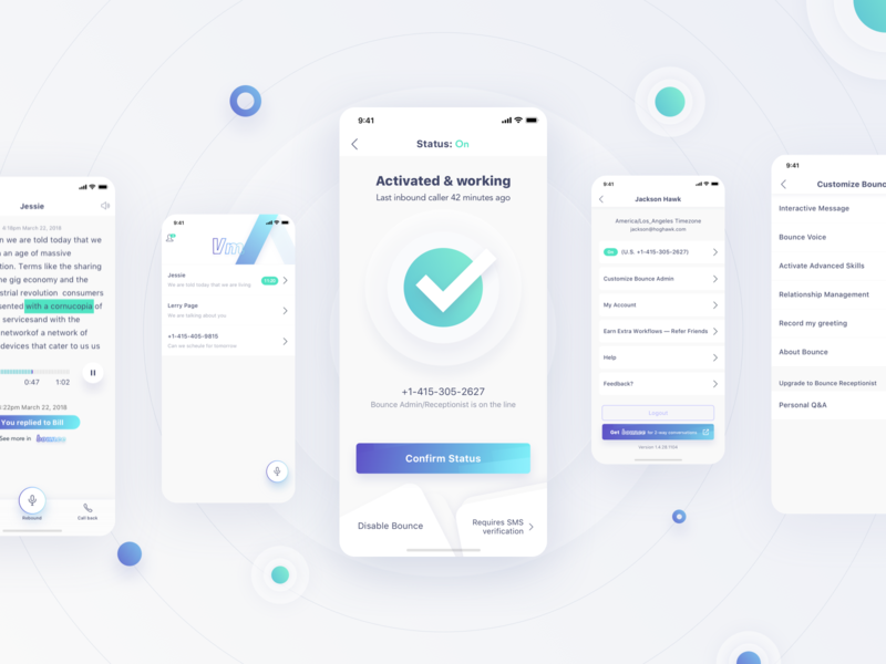 AI Assistant - Bounce VM App Design Project settings page message gradient color blue green clean style white background voice voicemail siri smart digital virtual ai personal assistant interface ios iphone x iphonex mobile app ui ux design