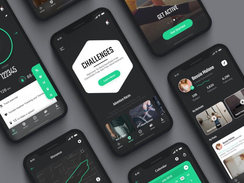 Redesign of Fitbit interface calendar video progress bar onboarding screen flow health coach sport fitness workout fitbit gym dashboard billboard map card style welcome profile dark clean green white color ios iphone x iphonex mobile app ui ux design