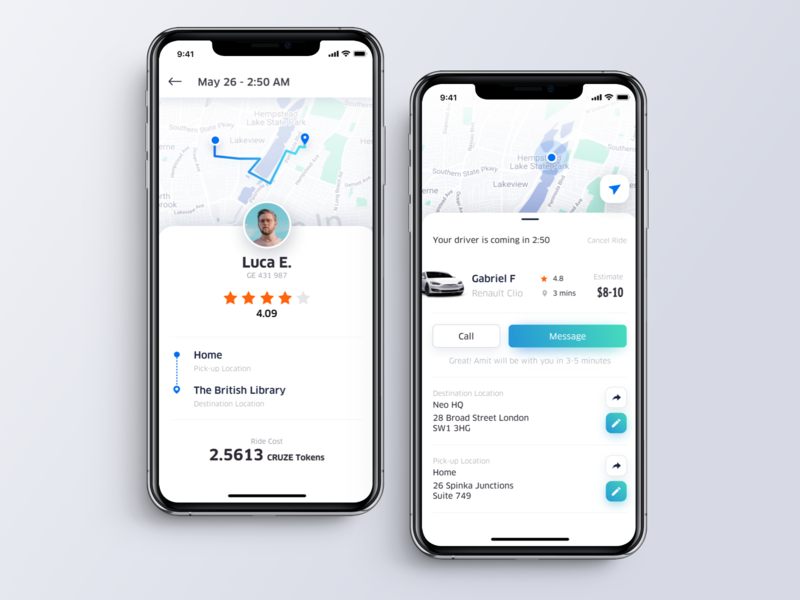 CRUZEO mobile app rating review driver mobile app ui ux design ios iphone x iphonex blockchain decentralized dapp onboarding screen flow ridesharing uber clean illustration man woman tree certification neo ontology framework tech technology blue green gradient color interface