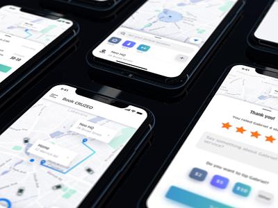 Ridesharing App ui interface interaction uber animation app mobile