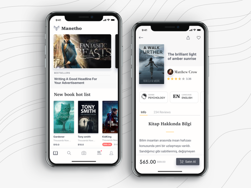 Manetho - homepage and book screen update mobile app ui ux design ios iphone x iphonex clean style white color order screen catalog payment credit card form profile online store shopping shop ecommerce e-commerce social network media sell buy books share book bookseller interface
