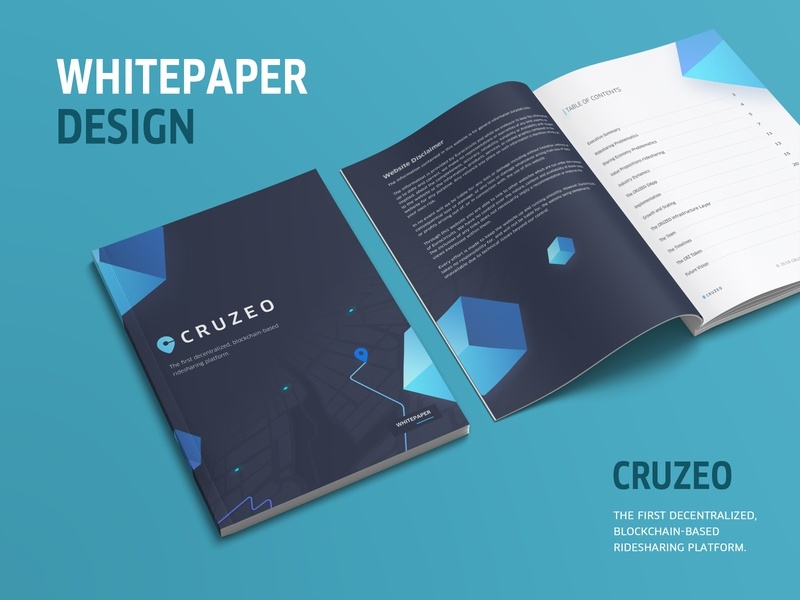 CRUZEO Whitepaper book cover disclaimer table of contents map route location brand dark background tech block blockchain decentralized whitepaper magazine book paper art design clean white blue