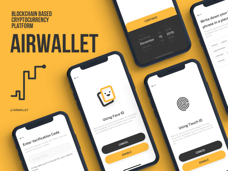AirWallet - Onboarding Screens interface birthday date of birth date picker selector verification code touch id face id email verify phone number onboarding flow mobile app ui ux design ios iphone x iphonex crypto currency exchange wallet bitcoin tech technology blockchain cryptocurrency white clean color black yellow wallet exchange airwallet icon card style material dark
