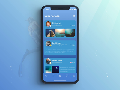 Diving App Animation blue background sea ocean fish vacation icon dive scuba diving swim bubble circle fluid water wave clean style blue color gradient rank page list post feed thread profile screen photograph color fluid selection list menu social network media animation motion gif after effects ae interface ios iphone x iphonex mobile app ui ux design