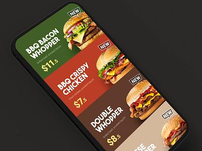 Food App restaurant grocery ui interface app burger animation mobile