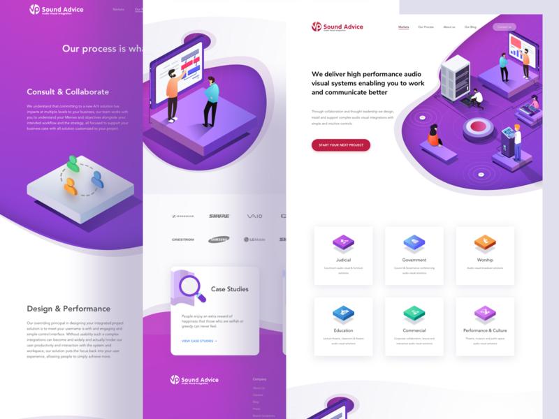 Website Design for VP-AV interface ux ui isometric illustration website web