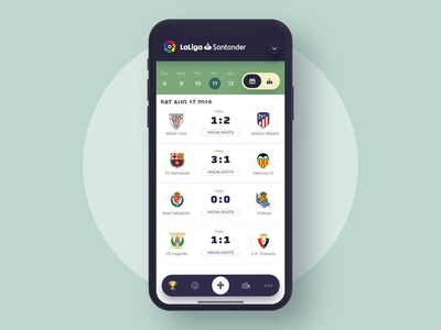 Soccer league mobile app animation