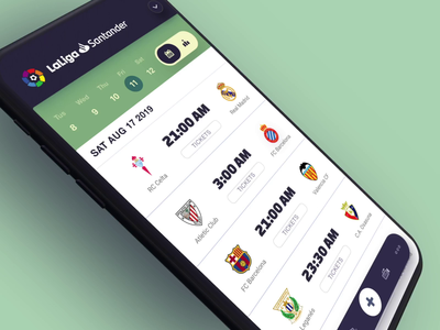 Complete animation from the soccer app loading list scroll filter tab bar menu navigation green white dark blue color fluid slick cool sport sports soccer football animation motion gif mobile app ui ux design after effects ae interface