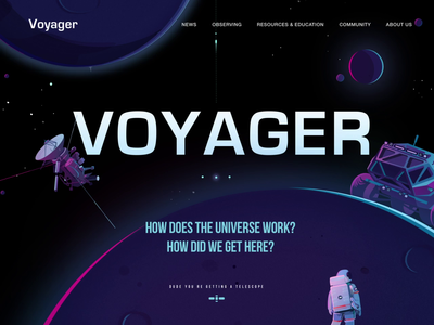 Voyager website landing page banner astronaut telescope planet space universe spaceship illustration typography web website ui ux design animation motion gif after effects ae interface