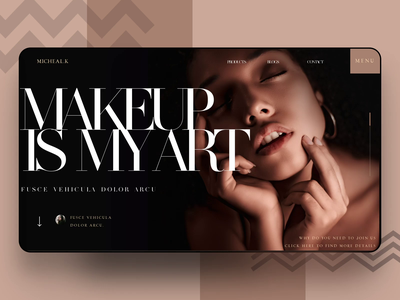 Beauty Website skincare cosmetics makeup ui interface landing page animation web website