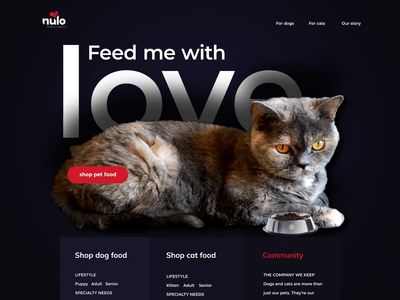 Pet Food Website cat ui website ecommerce landing page animation web
