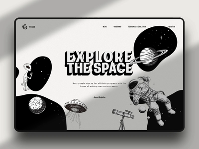 Explore the space 3d branding product website ui ux design fluid black and white header hover effect animation web star planet telescope astronaut saturn ring alien universe space spaceship landing page typography illustration