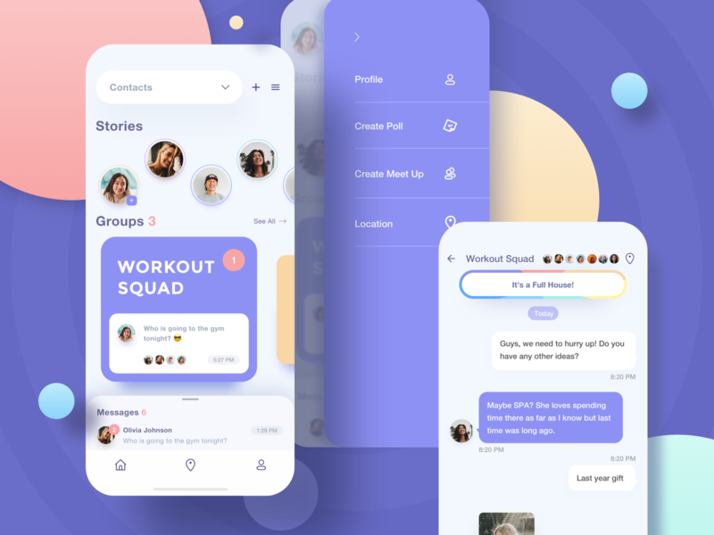 Seven Messaging App purple blue yellow colorful white clean tab bar homepage poll meetup location menu chat icon profile stories dm group messages millennials messaging young ios iphone x iphonex social network media interface mobile app ui ux design