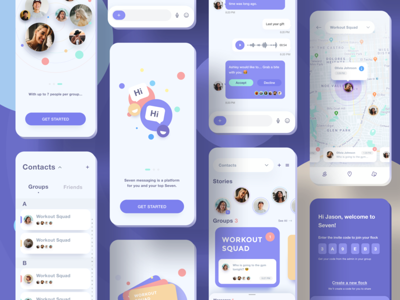 Seven Messaging App clean white purple blue yellow card material flat style voice message code group direct messages dm chat contacts map invite walkthrough onboarding screens welcome illustration icon social network media interface ios iphone x iphonex mobile app ui ux design
