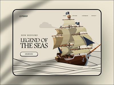 Pirate Website ship cartoon sea ocean illustration animation website web