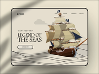 Pirate Website Concept web website ui ux design gamification 3d 2d cartoon game gami fun creative interesting landingpage illustration animated sea treasure box pirate ship trees ocean interface animation motion gif after effects ae interface