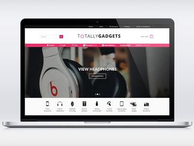 Gadget Store Design - TotallyGadgets landing page logo design rebranding responsive design flat icons drop down menu ui design online store electronics gadgets shop e-commerce