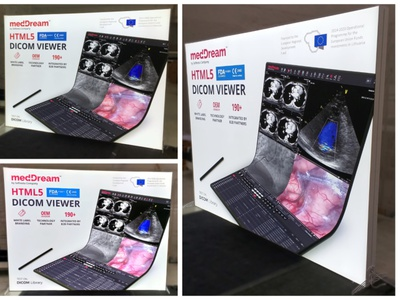 """medDream"" švieslentės stendas parodai exibition booth poster foldable folding medical softenta branding design levinskas alius"