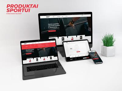 """Produktai sportui"" puslapio dizainas sport ui branding web uiux cechas design levinskas alius"