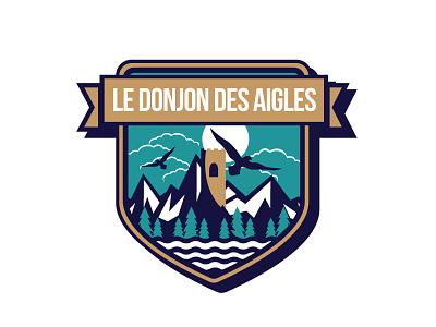 Logo Donjon Des Aigles dungeon mountain logo bretagne thil marine sea