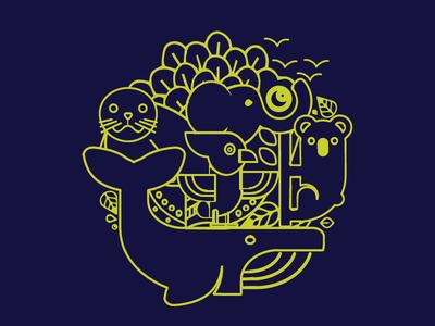 Logo concept Studio Thil animaux animal nature logo bretagne thil marine sea