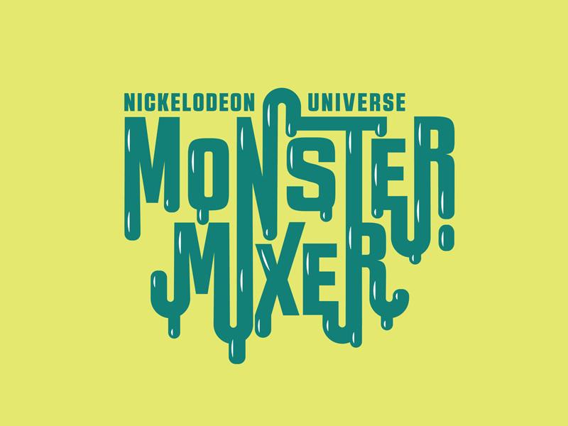 Monster Mixer Concept Logo typography event logo dripping halloween slime wordmark monster themepark kids logo
