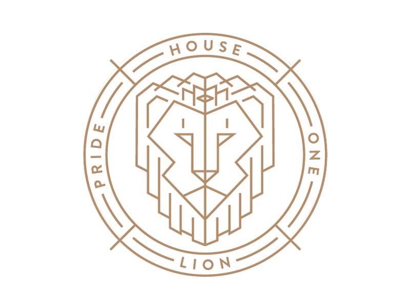House Lion Logo Variation vector illustration line art badge sigil crown crest gold lion