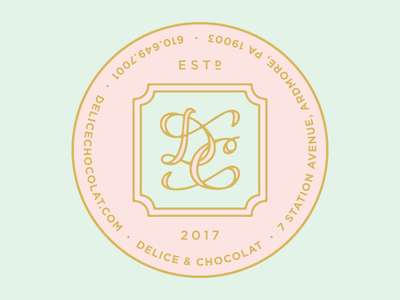 Delice & Chocolat Box Stickers label design ardmore tasty marketing logo design branding stickers french bakery chocolate