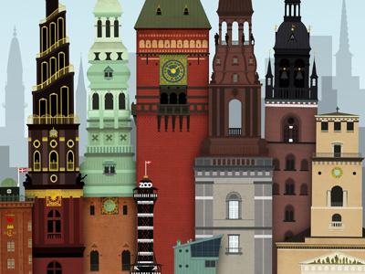 Copenhagen Towers copenhagen towers city illustration vector