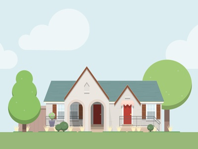Texas House trees house illustration vector