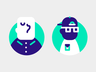 Art Patrons icons vector characters illustration people