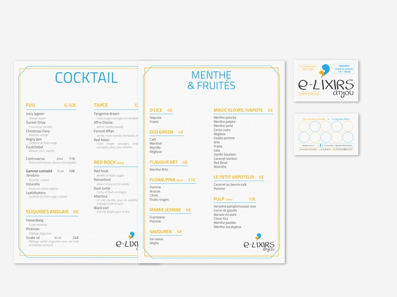 E-Lixirs Anjou busines card visual  identity menu card design ecig logo