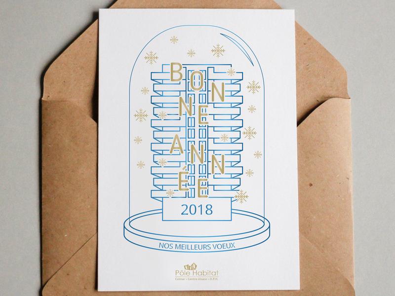 Pôle Habitat - Carte de voeux 2018 building snow flake 2018 new year eve greetingcard illustration