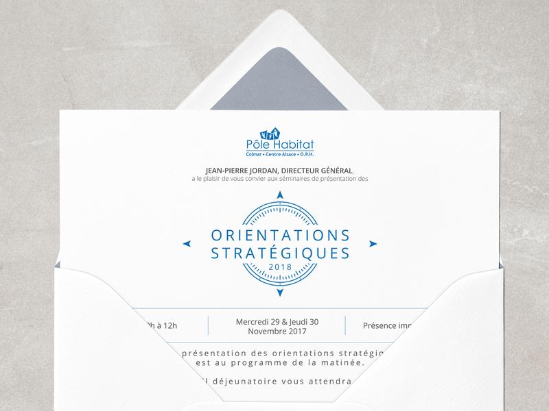 Pôle Habitat - Invitation blue orientation invitation card invitation card