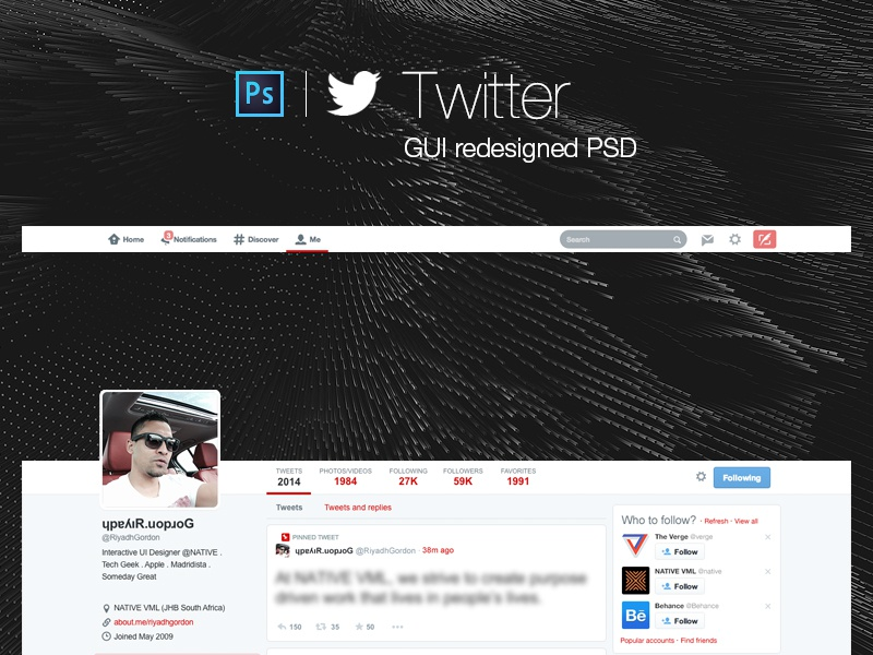 Twitter GUI redesigned PSD twitter psd download ui gui free layers freebie template
