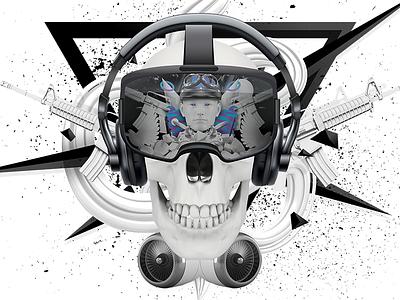 Skull Comp digitalart composition illustrationart 3d design illustration photoshop crazy abstract surreal art setdesign