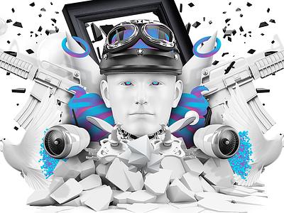 Face-off Comp digitalart composition illustrationart 3d design illustration photoshop crazy abstract surreal art setdesign