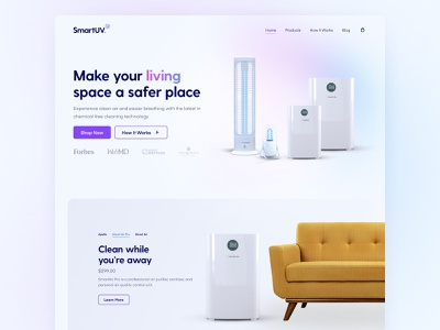 SmartUV Concept white clean sickness covid germs product safety landing page homepage bright friendly corporate hospital medical home uv light figma website ux ui