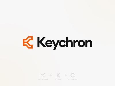 Keychron Logo Concept typography keyboard keycap lettermark industrial rigid geometric graphic design computer omnitype keychron orange bold portfolio branding ux logo ui brand design