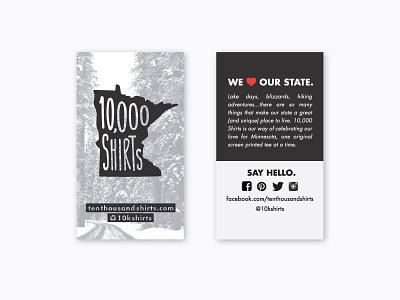 10,000 Shirts Hang Tags business card tag retail minnesota
