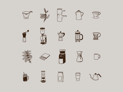 Brew Vectors bee house moka pot siphon kettle cold brew aeropress pour over v60 french press coffee shop brewing coffee