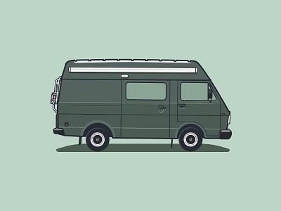 1996 VW LT design vwclassic lastenwagen bestelbus van car artwork camper vwbus florianverrijk gary illustration vanlife